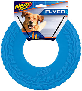 Nerf Dog Rubber Tire Flyer Dog Toy, Frisbee, Lightweight, Durable, Floats in Wat