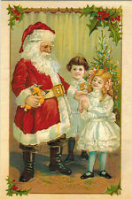 Repro of old card CHILDREN GET GIFTS FROM SANTA ON CHRISTMAS Modern Russian card