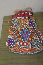 Vintage Banjara Mirror Gypsy Tribal Embroidery shoulder Drawstring bag India