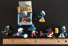 Vintage 1970s Peyo 6 Smurf Smurfs Toy Lot Hong Kong