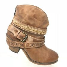 Corral Cognac Leather Mixed Strap Ankle Boot Distressed Western Womens SIZE 7.5M