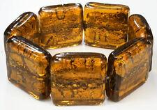 AMBER heavy CHUNKY square MURANO foil GLASS BRACELET