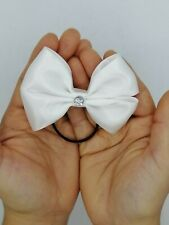 Hand-Made White Satin Ribbon Hair Bow with Stud Centrepiece