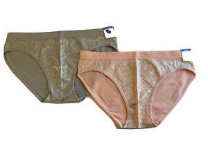 New Justice Underwear Panties 2 Oh So Soft Bikini Peach & Gray Logo Sz 18/20