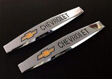2x Chevrolet Chrom Metal Car Trunk Side Fenders Door Emblem Badge Decal Sticker