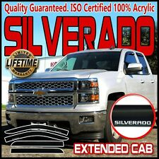 Fits 14-19 Silverado Extended Cab Side Window Rain Guards Visor Vent Deflectors
