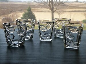 Set of 5 Partylite ARBOR BREEZE Square Votive Cups Clear Glass Embossed Leaves