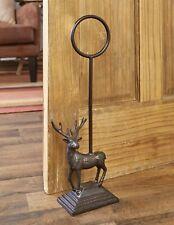 Heavy Cast Iron Door Stop with Carrying Handle - Woodland Deer