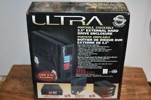 "Ultra 3.5"" Black USB 2.0 External Hard Drive External Enclosure Stackable New"