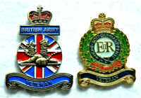Set of 2 British Commemorative Military Army Veteran Remembrance Badges Poppy