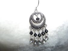 """and Black Dangle w/Crystals """"Fashion Jewels"""" Pierced Earrings, Designer,Silver"""