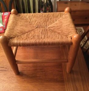 Vintage Woven Cane Rattan Wood 10 inch Tall Footstool