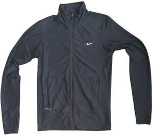 nike childrens dri fit black full zip track jacket sports running fitness size s