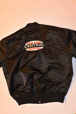 NEW YORK CENTRAL SYSTEM BLACK NYLON JACKET! LOGO FRONT & BACK/QUILTED LINING/L