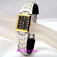 Ladies OMAX Waterproof 2tone Silver Gold Plate Diamond Cut Stardust Watch Dt0046