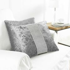 Set of 2 Crush velvet dimante cushion covers Grey / silver 45 x 45 cm