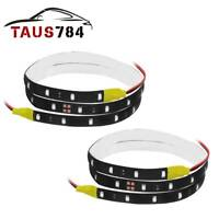 2x 60CM Flexible LED Strip Light 2835 SMD Waterproof Car Motorcycle 12V Yellow
