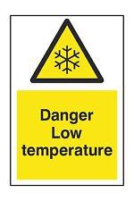 1x DANGER LOW TEMPERATURE Warning Danger Vinyl Sticker for Door Fridge Truck Car