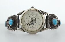 Native American RB Sterling Silver 925 Indian Head Turquoise Stretch Band Watch