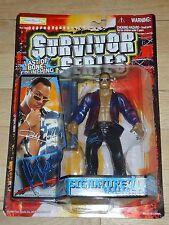 1999 WWF WWE Jakks Rock Dwayne Johnson Wrestling figure MOC Survivor Series Blue