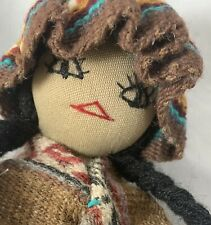 """Native American Doll with Papoose Baby Handmade Cloth Doll Woven Clothes 12"""""""