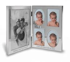 "Personalised 5""x7"" Double Silver Photo Frame - Engraved With Your Message"