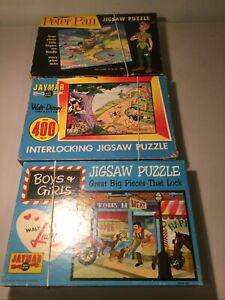 Vintage Jaymar Walt Disney Jigsaw Puzzles-Lady&Tramp, (3) Little Pigs, Peter Pan