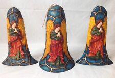 3 Pc Set Large Paper Mache Angel Bell Christmas Ornaments