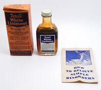 Vintage Rexall White Liniment Quack Medicine Bottle W Contents & Insert In Box
