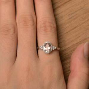 Natural Oval Halo Morganite Wedding Engagement Ring Certified 14kt White Gold