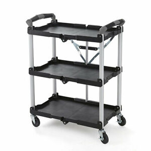 Olympia Tools 85-188 Pack N Roll 3 Tier Collapsible Storage Rolling Service Cart
