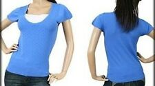 Blue Short Sleeve Pointelle Knit Top Sweater Junior Size S Small New With Tag