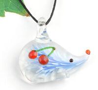 1pc cute hedgehog cherry Lampwork Glass bead pendant Necklace p866_2