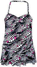 New Women's Swimdress Size 12 Swimsuit Flirty Flounce Bandeau Black White Pink