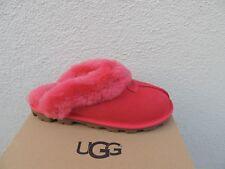 UGG COQUETTE RIBBON RED SUEDE SHEEPSKIN SLIPPERS, WOMEN US 6/ EUR 37 ~ NIB