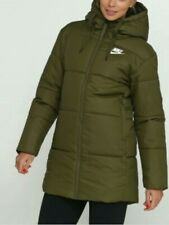 Nike Synthetic Fill Parka Long Coat Jacke New Ladies Hood CD9050 395 Uk XL Green