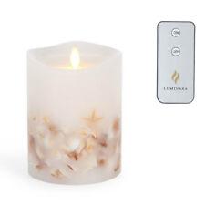 "Luminara® Real Wax Flameless LED (Moving Flame) 5"" Seashell Pillar w/ REMOTE"