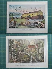 Noah's Ark Puzzle Picture Currier & Ives Vintage Antique Art Print 1952 Lot
