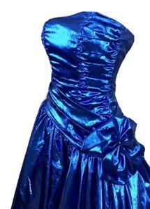 Ultimate Vintage 80s Metallic Blue Zum Zum Full Skirt Strapless Cocktail Ladies Evening Gown  Dress Size Small