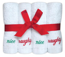 Personalised 8 Piece Face Cloth Gift Set 'NAUGHTY / NICE' Embroidered Flannels