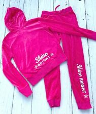 H&M Girls Pink Velour Sweat Suit Set Lounge Wear Zip Hoodie Sz 10 12 Bling