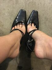 Extremely Well Worn Pointy Black Heels Pumps Teacher Shoes Sz 8.5