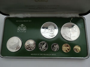 Guyana 1976 8 pcs proof set with two silver coins (1.88oz) Box & COA and paper