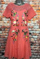 NEW OASIS S Orange Lace Floral Embroidered Short Sleeve Knee Length Party Dress