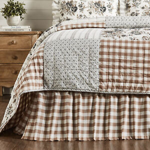 VHC Brands Farmhouse Queen Bed Skirt Brown Gathered Annie Buffalo Bedroom Decor