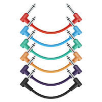 "6 Pack Donner 6 Inch Guitar Patch Cables TS 1/4"" Right Angle Plugs Colored Cord"