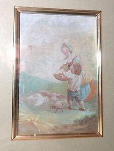 antique original 1869 feeding child feeding chicken gouache watercolor painting