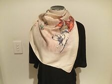 Vintage 100% Silk Twill Ecru Combo Dogs and Ducks SCARF 80cm x80cm Handroll Hems
