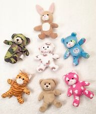 "BUILD A BEAR Mini 5"" Finger Puppet PLUSH BEAR TIGER BUNNY McDonalds -Lot Of 7"