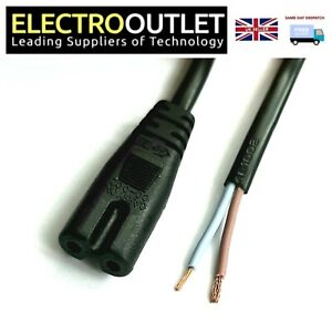 2m Bare Wire Ends Lead Figure of 8 IEC C7 Cable with Straight Connector Black